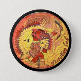 Aztec sun god colour - Amazing Mexico Button
