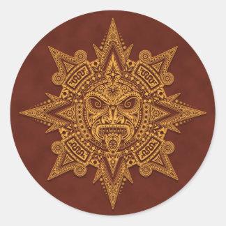 Aztec Sun Mask – Golden Red Classic Round Sticker