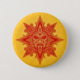 Aztec Sun Mask – Red and Yellow 2 Inch Round Button