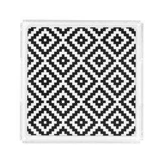 Aztec Symbol Block Big Ptn Black & White I Acrylic Tray
