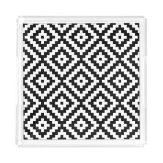 Aztec Symbol Block Big Ptn Black & White II Acrylic Tray