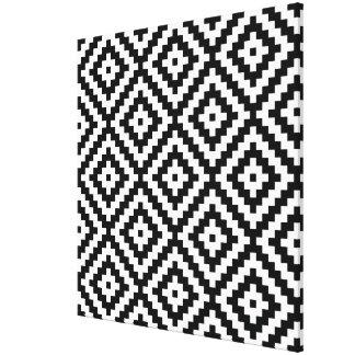 Aztec Symbol Block Big Ptn Black & White II Canvas Print