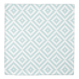 Aztec Symbol Block Big Ptn Duck Egg Blue & White I Duvet Cover