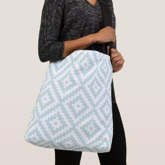 Aztec Symbol Block Big Ptn Duck Egg Blue & Wt II Crossbody Bag