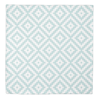 Aztec Symbol Block Big Ptn Duck Egg Blue & Wt II Duvet Cover