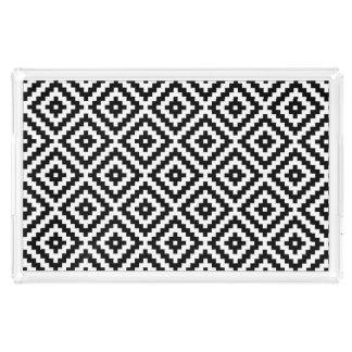 Aztec Symbol Block Pattern Black & White I Acrylic Tray