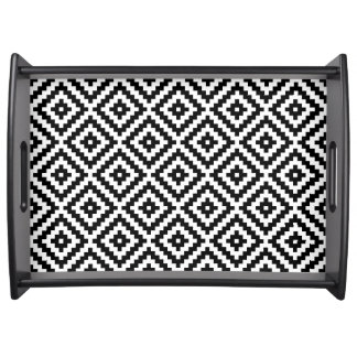 Aztec Symbol Block Pattern Black & White I Serving Tray