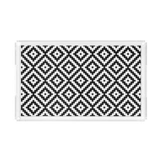 Aztec Symbol Block Pattern Black & White II Acrylic Tray