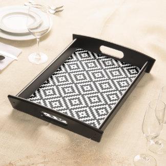 Aztec Symbol Block Pattern Black & White II Serving Tray