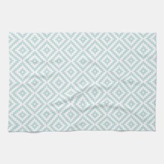 Aztec Symbol Block Pattern Duck Egg Blue & White I Kitchen Towel