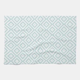 Aztec Symbol Block Pattern Duck Egg Blue & Wt II Kitchen Towel