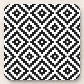 Aztec Symbol Block Ptn Black & White I Coaster