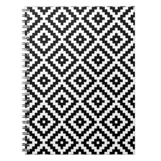 Aztec Symbol Block Ptn Black & White I Notebook