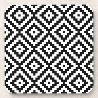 Aztec Symbol Block Ptn Black & White II Coaster