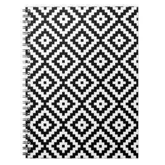 Aztec Symbol Block Ptn Black & White II Notebook