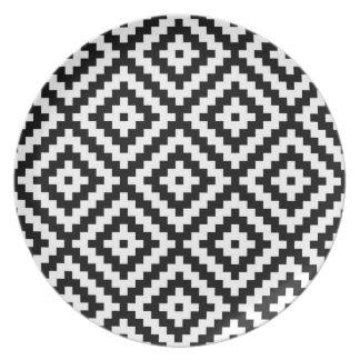 Aztec Symbol Block Ptn Black & White II Plate
