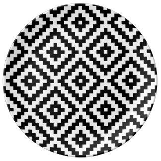 Aztec Symbol Block Ptn Black & White Plate