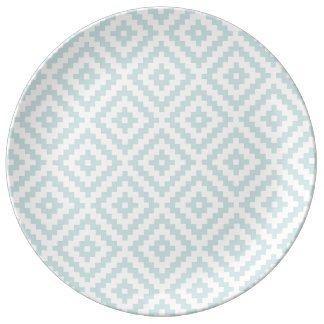 Aztec Symbol Block Ptn Duck Egg Blue & White I Plate