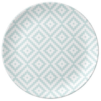 Aztec Symbol Block Ptn Duck Egg Blue & Wt II Plate