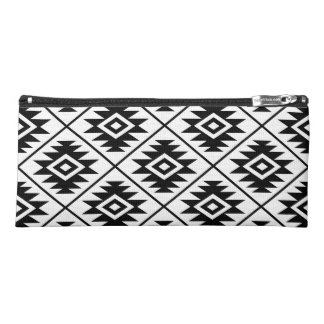 Aztec Symbol Stylized 2Way Big Ptn Black & White Pencil Case