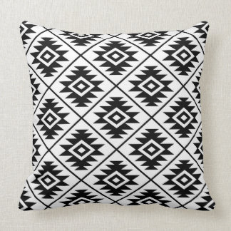 Aztec Symbol Stylized 2Way Ptn Black & White Throw Pillow