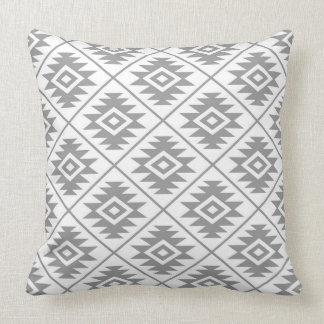 Aztec Symbol Stylized 2Way Ptn Gray & White Throw Pillow