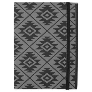 "Aztec Symbol Stylized Big Pattern Black on Gray iPad Pro 12.9"" Case"