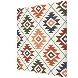 Aztec Symbol Stylized Big Pattern Color Mix Canvas Print