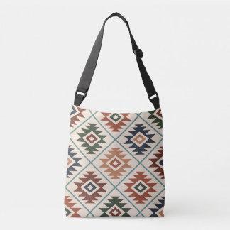Aztec Symbol Stylized Big Pattern Color Mix Crossbody Bag