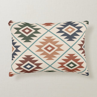 Aztec Symbol Stylized Big Pattern Color Mix Decorative Pillow