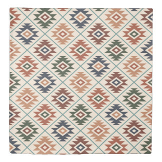 Aztec Symbol Stylized Big Pattern Color Mix Duvet Cover