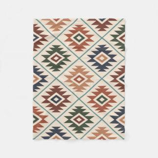 Aztec Symbol Stylized Big Pattern Color Mix Fleece Blanket