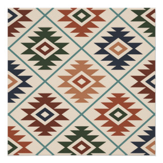 Aztec Symbol Stylized Big Pattern Color Mix Poster