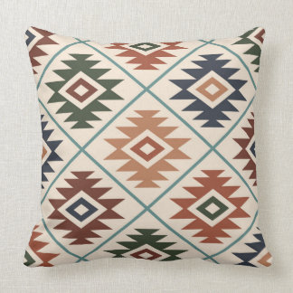 Aztec Symbol Stylized Big Pattern Color Mix Throw Pillow