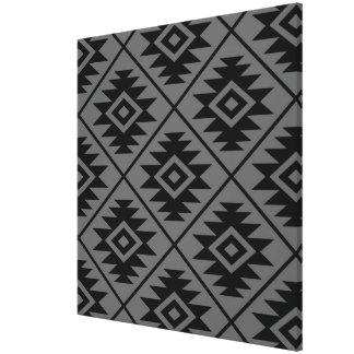Aztec Symbol Stylized Big Ptn Black on Gray Canvas Print