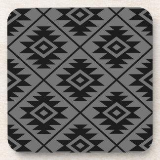 Aztec Symbol Stylized Big Ptn Black on Gray Coaster