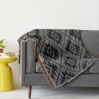 Aztec Symbol Stylized Big Ptn Black on Gray Throw Blanket