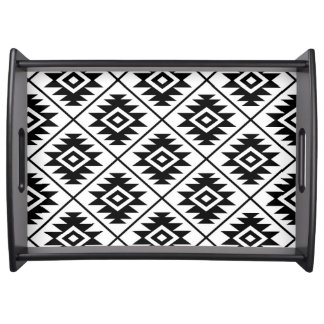 Aztec Symbol Stylized Big Ptn Black on White Serving Tray