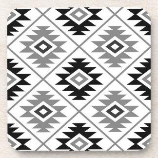 Aztec Symbol Stylized Big Ptn Black White Gray Coaster