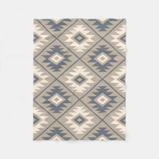 Aztec Symbol Stylized Big Ptn Blue Cream Sand Fleece Blanket