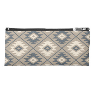 Aztec Symbol Stylized Big Ptn Blue Cream Sand Pencil Case