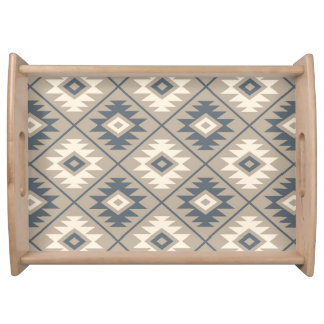 Aztec Symbol Stylized Big Ptn Blue Cream Sand Serving Tray