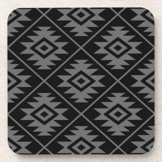 Aztec Symbol Stylized Big Ptn Gray on Black Coaster