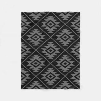 Aztec Symbol Stylized Big Ptn Gray on Black Fleece Blanket