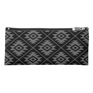 Aztec Symbol Stylized Big Ptn Gray on Black Pencil Case