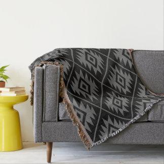 Aztec Symbol Stylized Big Ptn Gray on Black Throw Blanket