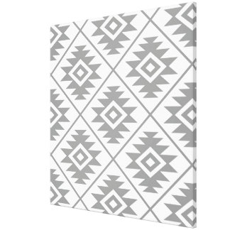 Aztec Symbol Stylized Big Ptn Gray on White Canvas Print