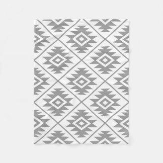 Aztec Symbol Stylized Big Ptn Gray on White Fleece Blanket
