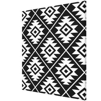 Aztec Symbol Stylized Big Ptn White on Black Canvas Print