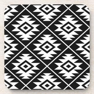 Aztec Symbol Stylized Big Ptn White on Black Coaster